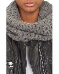 Barneys New York Gray Net-Knit Cowl - Lyst