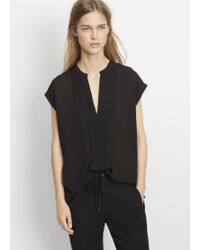 Vince | Double Georgette Pintuck Popover Blouse | Lyst