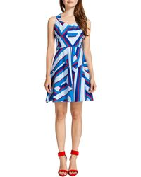 Cynthia Steffe Drea Sleeveless Abstract Sailorprint Dress - Lyst
