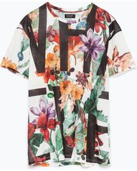 Zara Printed T-Shirt multicolor - Lyst
