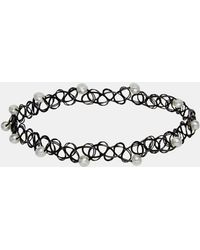 Asos Tattoo Choker Necklace with Faux Pearls - Lyst