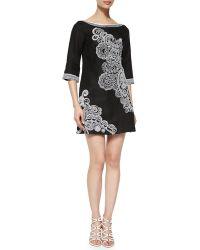 Nanette Lepore 3/4-Sleeve Paisley-Print Dress - Lyst