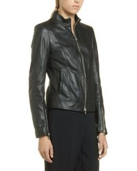 Patrizia Pepe Biker Jacket In Soft Nappa With Feminine Fit - Lyst