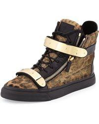 Giuseppe Zanotti Mens Metal-Strap Leopard Calf Hair Sneaker - Lyst
