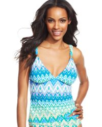 Kenneth Cole Reaction Zigzag Tankini Top - Lyst