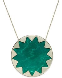 House Of Harlow Gold-tone Green Sunburst Pendant Necklace - Lyst