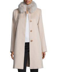 Fleurette - Fur-collar Wool Coat - Lyst