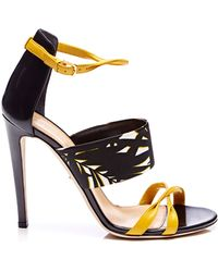 Sergio Rossi Donyale Printed Satin and Leather Sandals - Lyst
