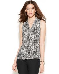 Vince Camuto Sleeveless V-Neck Woven Patterned Pleated Blouse - Lyst