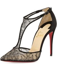 Christian Louboutin Salonu Chantilly Lace T-Strap Red Sole Pump - Lyst