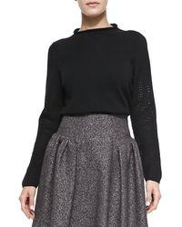 Milly Wool Highneck Sweater Black Medium - Lyst