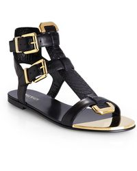 Balmain Black Leather and Python Flat Sandal - Lyst