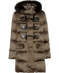 Burberry Brit - Fur-trimmed Duffle Coat - Lyst
