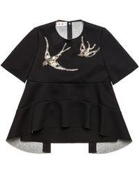 Marni Coal Short Sleeve Sweatshirt With Embroidery black - Lyst