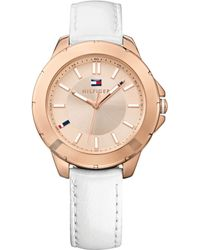 Tommy Hilfiger Womens White Patent Leather Strap Watch 38mm - Lyst