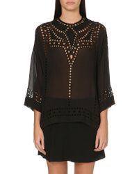Etoile Isabel Marant Ethan Cut out Embroidered Georgette Top - Lyst