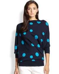St. John Dot Intarsia Knit Asymmetric Sweater - Lyst
