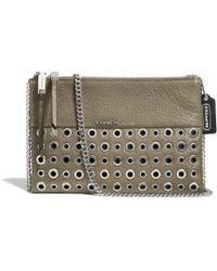 Coach Grommets Zip Top Crossbody in Leather - Lyst