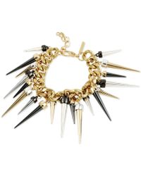 Steve Madden Tritone Chain and Spike Accent Bracelet - Lyst