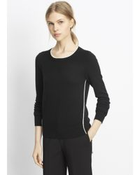 Vince | Cashmere Crew Neck Sweater With Contrast Tipping | Lyst