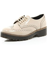 River Island Light Pink Patent Chunky Brogues - Lyst