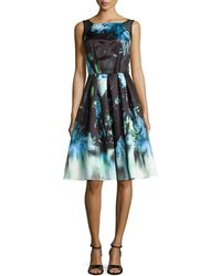 Carmen Marc Valvo Sleeveless Floral-print Pleated Dress - Lyst