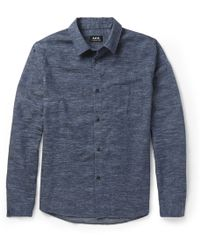 A.P.C. Flecked Cotton and Wool-blend Flannel Shirt - Lyst