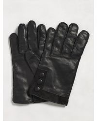 John Varvatos - Leather Glove With Suede Cuff - Lyst