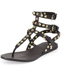 Ash Oasis Studded Ankle-Wrap Thong Sandal - Lyst