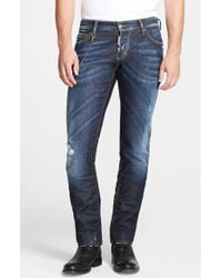 DSquared² 'Easy Wash' Distressed Slim Fit Jeans With Chain - Lyst