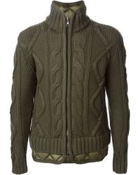 Moncler Quilted Hem Cardigan - Lyst