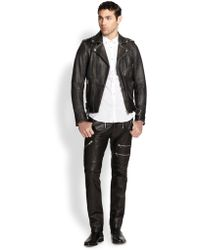 Diesel Seddik Wolf Printedback Leather Motorcycle Jacket - Lyst
