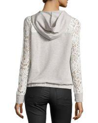 Catherine Malandrino Indigo - Lace-Sleeve Hooded Jacket - Lyst