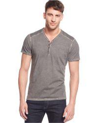 DKNY Solid Henley Shirt black - Lyst