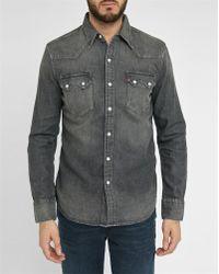 Levi's | Grey Denim Press-studs Shirt | Lyst