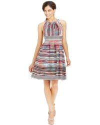 Nine West Striped Pleated Cotton Dress - Lyst