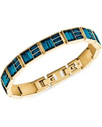Michael Kors Gold-tone Blue Baguette Bangle Bracelet - Lyst