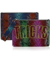 House of Holland - Bag Of Tricks Embroidered Snake-Effect Leather Clutch - Lyst