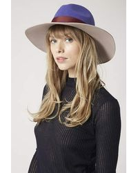 Topshop Wide Brim Colour-Block Fedora Hat - Lyst