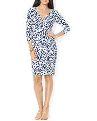 Ralph Lauren Lauren Dress - Crossover V-Neck Floral Print Matte Jersey - Lyst