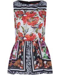 Clover Canyon Red Sleeveless Floral Garden Print Peplum Top - Lyst