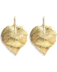 Aurelie Bidermann Gold Central Park Leaf Earrings - Lyst
