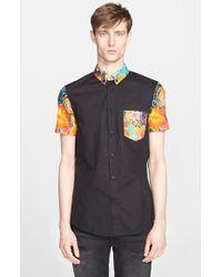Versace Jeans Trim Fit Tropical Print Short Sleeve Sport Shirt - Lyst