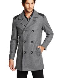 Guess - Wool Blend Double Breasted Peacoat - Lyst