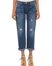 Current/Elliott The Boyfriend Distressed Cropped Jeans - Lyst