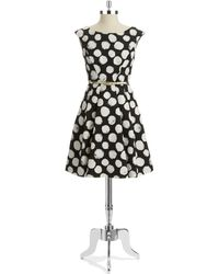 Eliza J Dotted Fit and Flare Dress - Lyst
