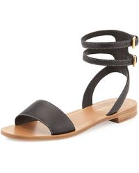Prada Leather Double-Wrap Flat Sandal - Lyst