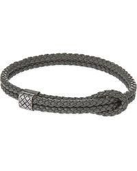 Bottega Veneta Adjustable Double Thin Strap Bracelet - For Women gray - Lyst