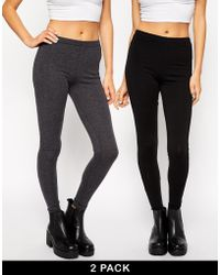 Asos 2 Pack High Waist Full Length Leggings - Lyst