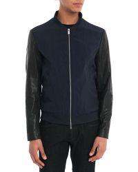 Armani Navy Dual-Fabric Leather/Nylon Baseball Jacket - Lyst